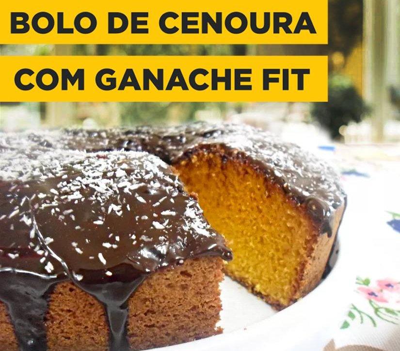 BOLO DE CENOURA FIT COM GANACHE E WHEY PROTEIN